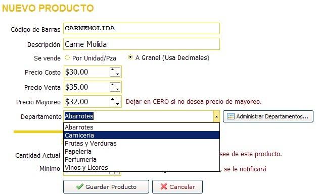 Especificando un departamento al crear un producto